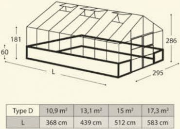 Kasvihuone Botanica malli D 10,9 m²: ESITTELYMALLI 2500,- (ESPOO)