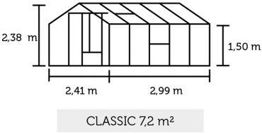 Classic 7,2 m² puukasvihuone 3 mm karkaistu lasi