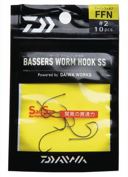 Koukku Drop Shot #4, 10 kpl, Bassers Worm Hook SS FFN, Daiwa