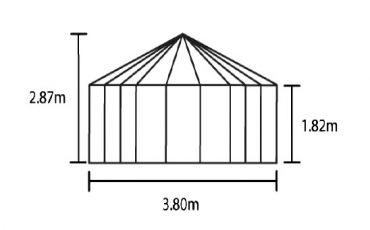 Halls Atrium 9 m² musta -kasvihuonepaketti varuste-edulla