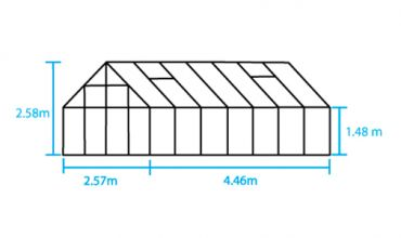 Kasvihuone Halls Magnum 11,5 m² turvalasilla, musta väri