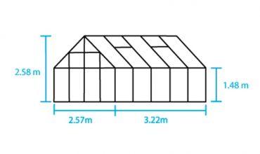 Kasvihuone Halls Magnum 8,3 m² turvalasilla, vihreä väri