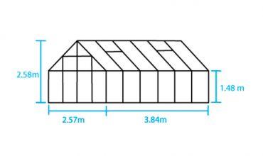 Kasvihuone Halls Magnum 9,9 m² 6 mm kennolevyllä, musta väri