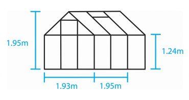 Kasvihuone Halls Popular 3,8 m² kennolevyllä, alumiini