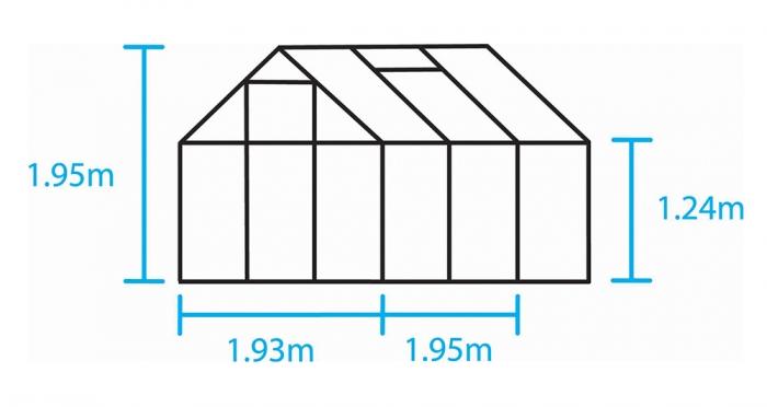 Kasvihuone Halls Popular 3,8 m² lasilla, alumiini