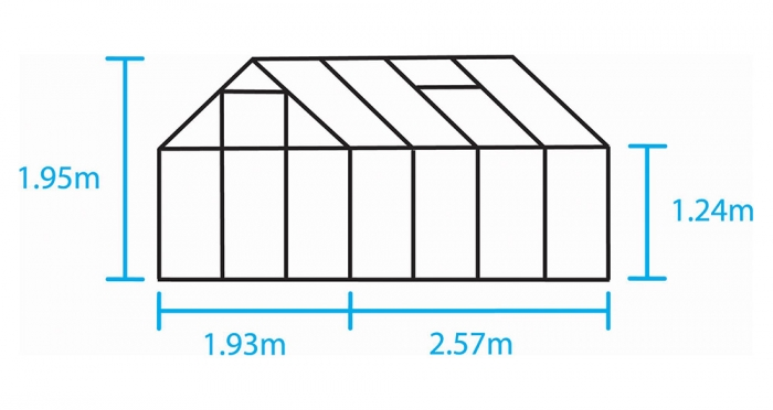 Kasvihuone Halls Popular 5,0 m² kennolevyllä, alumiini