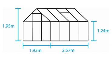 Växthus Halls Popular 5,0m² glas, aluminium