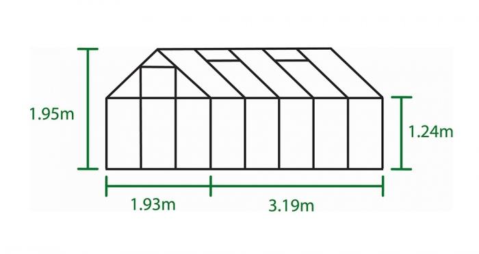Kasvihuone Halls Popular 6,2 m² kennolevyllä, alumiini