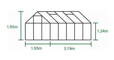 Kasvihuone Halls Popular 6,2 m² turvalasilla, musta väri