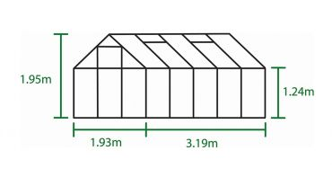 Kasvihuone Halls Popular 6,2 m² lasilla alumiini