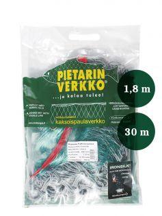 Fisknät  45mm 1,8m IronSilk längd 30m, Pietari dubbelteln