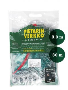 Fisknät  50mm 3,0m IronSilk längd 30m, Pietari dubbelteln