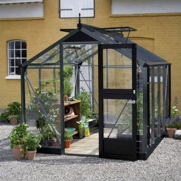 Kasvihuone Juliana Compact 6,6 m² turvalasilla, antrasiitti/musta runko ESITTELYMALLI