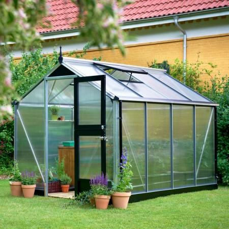 Kasvihuone Juliana Compact 6,6 m² 10 mm kennolevyllä, alumiini/musta runko