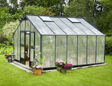 Växthus Juliana Gardener 16,2 m² 10 mm isolerplast, antracit/svart färg