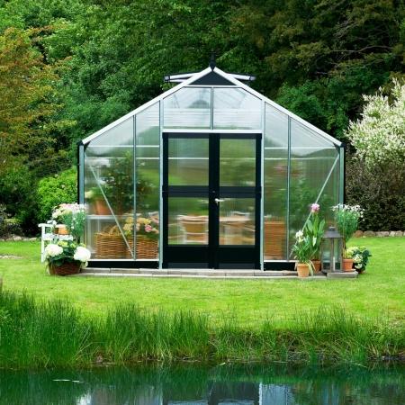 Kasvihuone Juliana Gardener 21,4 m² 10 mm kennolevyllä, alumiini/musta väri