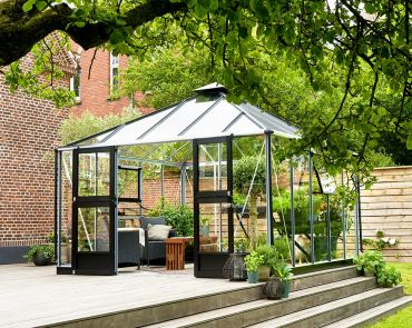 Växthus Juliana Oasis 13,5 m² säkerhetsglas Alu/svart färg
