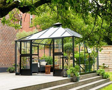 Växthus Juliana Oasis 13,5 m² säkerhetsglas, antracitgrå