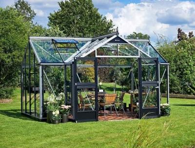 Kasvihuone Juliana Oranger 15,2 m² 3mm turvalasilla, alumiini/musta väri