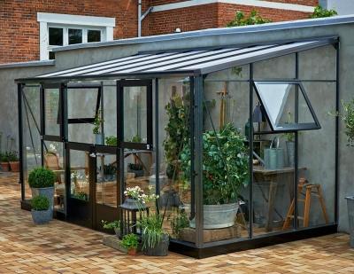 Kasvihuone Juliana Veranda 9,7 m² turvalasilla, harmaa runko