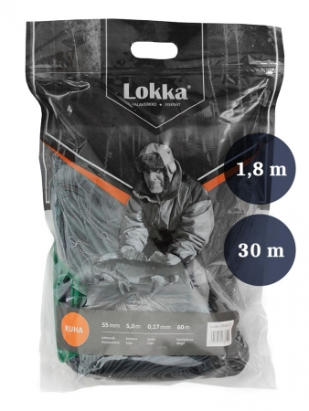 Fisknät 35mm 1,8m garn 0,15 längd 30m, Lokka