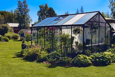 Växthus ACD Retro 13,6 m² säkerhetsglas, svart stomme