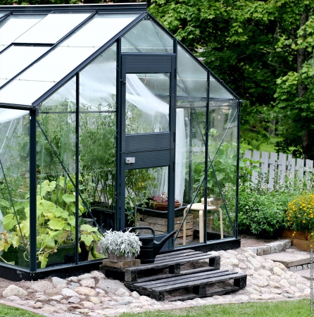 Kasvihuone Juliana Junior 8,3 m² lasilla, antrasiitin harmaa