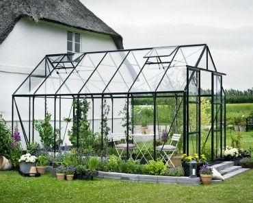 Växthus Halls Magnum 11,5 m² säkerhetsglas, svart färg