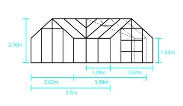 Växthus Halls Garden Room 12,9 m² säkerhetsglas, svart stomme