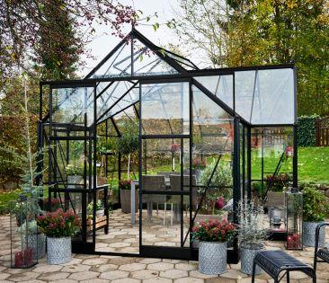 Kasvihuone Halls Garden Room 12,9 m² turvalasilla, musta runko