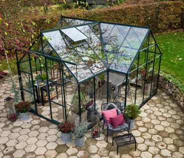 Kasvihuone Halls Garden Room 12,9 m² turvalasilla, vihreä runko