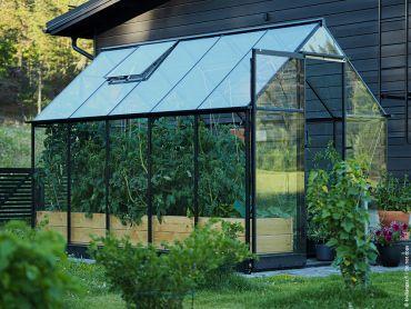 Växthus Halls Qube 6,4 m² säkerhetsglas, svart stomme