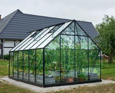 Växthus Halls Universal 9,9 m² med svart stomme och säkerhetsglas