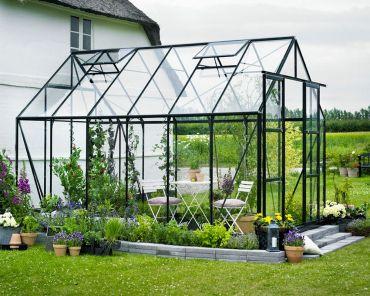Växthus Halls Magnum 9,9 m² säkerhetsglas, grön färg
