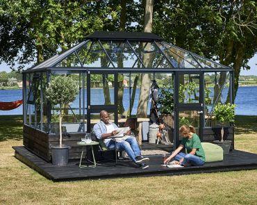 Växthus Juliana Grand Oasis 13,0 m² till mur, säkerhetsglas, antracitgrå