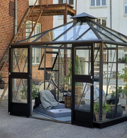 Kasvihuone Juliana Oasis 8,8 m² turvalasilla, antrasiitti/musta väri