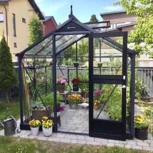 Växthus Juliana Compact 5,0 m² säkerhetsglas, antrasit/svart stomme