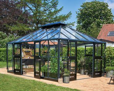 Växthus Juliana Grand Oasis 18,8 m² säkerhetsglas, antracitgrå