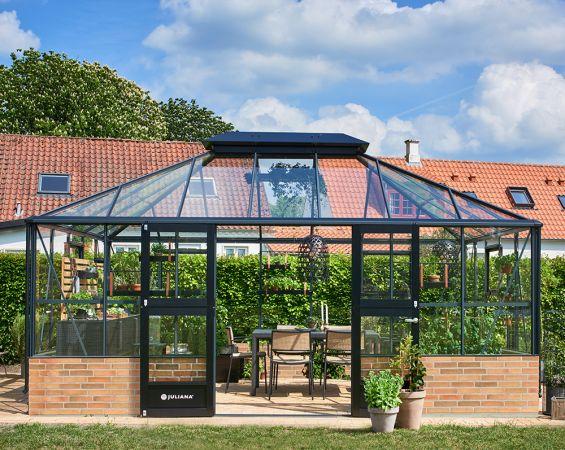 Kasvihuone Juliana Grand Oasis 18,8 m² muurille, turvalasilla, antrasiitin harmaa