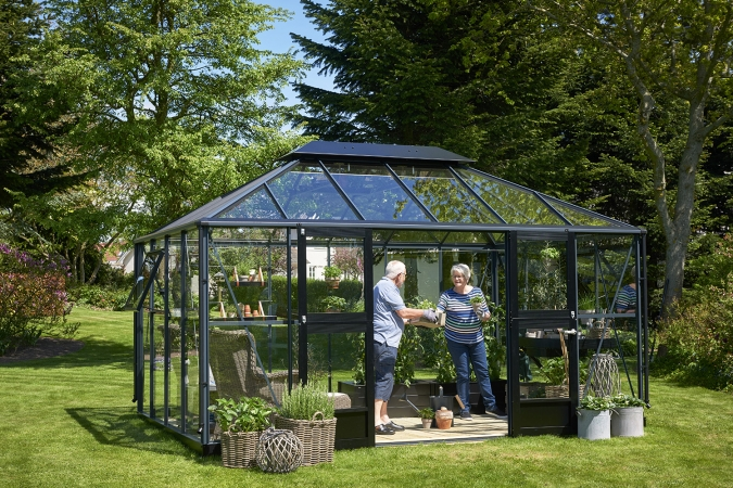 Kasvihuone Juliana Grand Oasis 13,0 m² turvalasilla, antrasiitin harmaa
