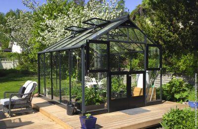 Kasvihuone Juliana Premium 10,9 m² turvalasilla, antrasiitti/musta väri
