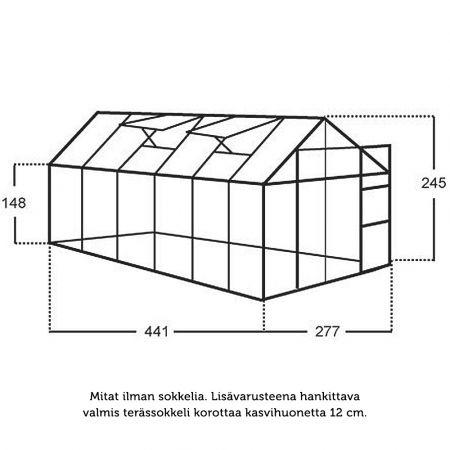 Kasvihuone Juliana Junior 12,1 m² lasilla alumiini runko