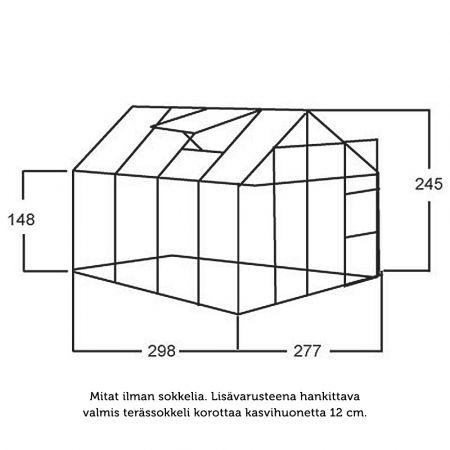 Kasvihuone Juliana Junior 8,3 m² kennolevyllä alumiini runko