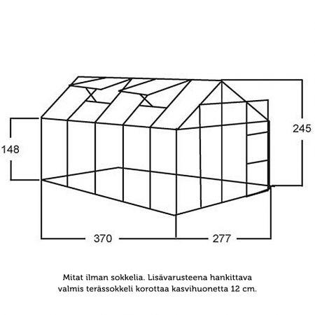 Kasvihuone Juliana Junior 10,2 m² kennolevyllä alumiini runko