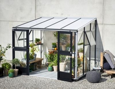 Seinämallinen kasvihuone Veranda 6,6 lasilla