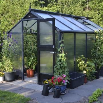 Kasvihuone Juliana Compact 8,2 m² 10 mm kennolevyllä, antrasiitti/musta runko