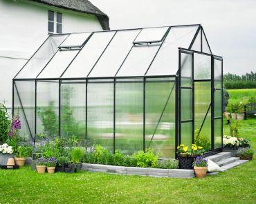 Växthus Halls Magnum 9,9 m² 6 mm isolerplast, grön färg