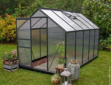 Växthus Halls Popular 6,2 m² isolerplast, svart färg