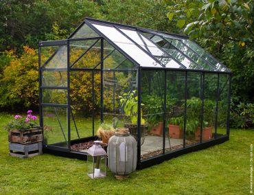 Växthus Halls Popular 6,2 m² glas, antracitgrå färg