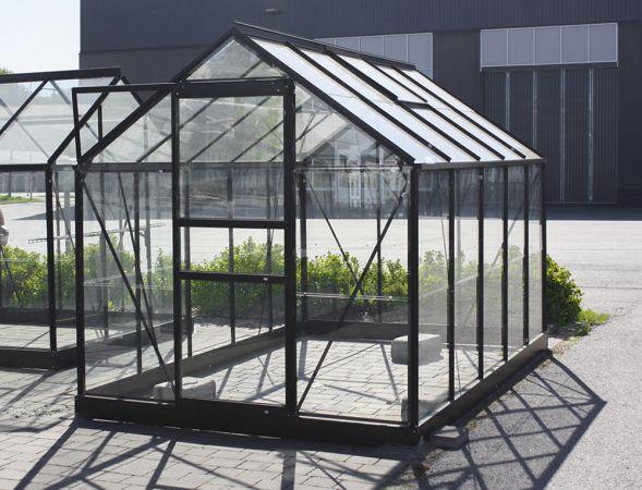 Kasvihuone Halls Popular 6,2 m² lasilla, musta väri